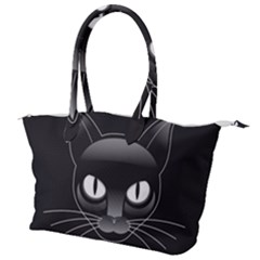 Grey Eyes Kitty Cat Canvas Shoulder Bag