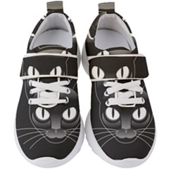 Grey Eyes Kitty Cat Kids  Velcro Strap Shoes