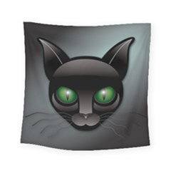 Green Eyes Kitty Cat Square Tapestry (small)