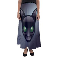 Green Eyes Kitty Cat Flared Maxi Skirt by HermanTelo