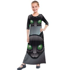 Green Eyes Kitty Cat Kids  Quarter Sleeve Maxi Dress