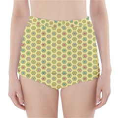 Hexagonal Pattern Unidirectional Yellow High Waisted Bikini Bottoms