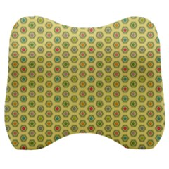 Hexagonal Pattern Unidirectional Yellow Velour Head Support Cushion