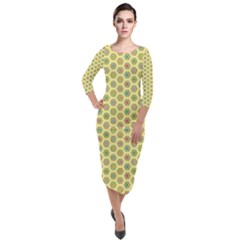 Hexagonal Pattern Unidirectional Yellow Quarter Sleeve Midi Velour Bodycon Dress by HermanTelo