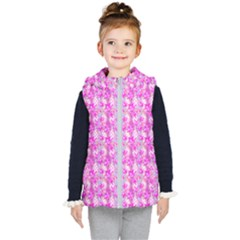 Maple Leaf Plant Seamless Pattern Kids  Hooded Puffer Vest