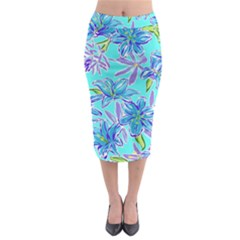 Preppy Floral Pattern Midi Pencil Skirt by tarastyle
