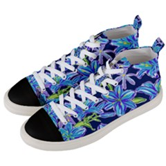 Preppy Floral Pattern Men s Mid Top Canvas Sneakers by tarastyle