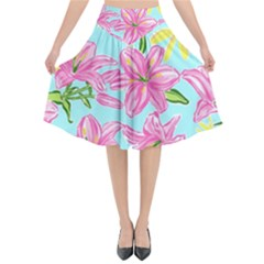 Preppy Floral Pattern Flared Midi Skirt by tarastyle