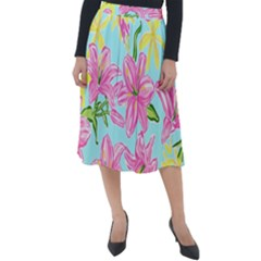 Preppy Floral Pattern Classic Velour Midi Skirt  by tarastyle