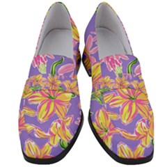 Preppy Floral Pattern Women s Chunky Heel Loafers by tarastyle