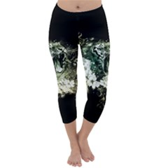 Awesome Tiger With Flowers Capri Winter Leggings  by FantasyWorld7