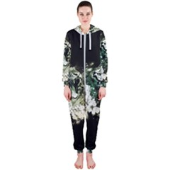 Awesome Tiger With Flowers Hooded Jumpsuit (ladies)  by FantasyWorld7