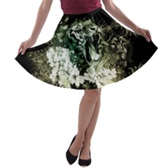 Awesome Tiger With Flowers A-line Skater Skirt by FantasyWorld7