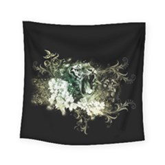 Awesome Tiger With Flowers Square Tapestry (small) by FantasyWorld7