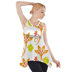 Pattern Floral Spring Map Gift Side Drop Tank Tunic