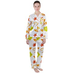 Pattern Floral Spring Map Gift Satin Long Sleeve Pyjamas Set by HermanTelo