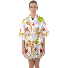 Pattern Floral Spring Map Gift Quarter Sleeve Kimono Robe