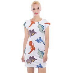 Pattern Dinosaurs Cap Sleeve Bodycon Dress by HermanTelo
