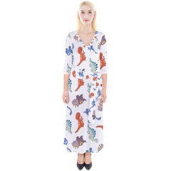 Pattern Dinosaurs Quarter Sleeve Wrap Maxi Dress by HermanTelo