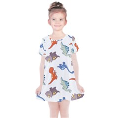 Pattern Dinosaurs Kids  Simple Cotton Dress by HermanTelo