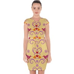 Pattern Bird Flower Capsleeve Drawstring Dress