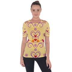 Pattern Bird Flower Shoulder Cut Out Short Sleeve Top
