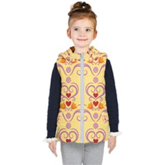 Pattern Bird Flower Kids  Hooded Puffer Vest