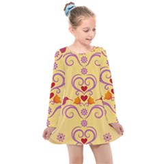 Pattern Bird Flower Kids  Long Sleeve Dress by HermanTelo