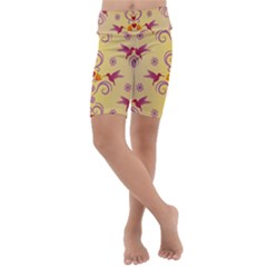 Pattern Bird Flower Kids  Lightweight Velour Cropped Yoga Leggings