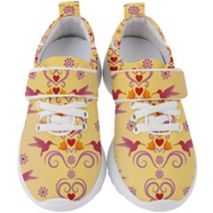 Pattern Bird Flower Kids  Velcro Strap Shoes