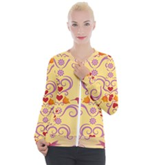 Pattern Bird Flower Casual Zip Up Jacket by HermanTelo