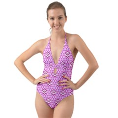 Paulownia Flowers Japanese Style Halter Cut Out One Piece Swimsuit