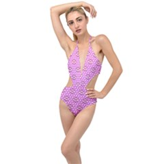 Paulownia Flowers Japanese Style Plunging Cut Out Swimsuit