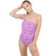 Paulownia Flowers Japanese Style Frilly One Shoulder Swimsuit