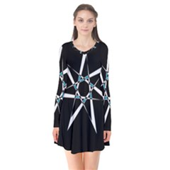 Star Sky Design Decor Long Sleeve V-neck Flare Dress