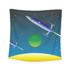 Rocket Spaceship Space Square Tapestry (small)
