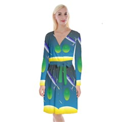 Rocket Spaceship Space Long Sleeve Velvet Front Wrap Dress