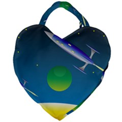 Rocket Spaceship Space Giant Heart Shaped Tote