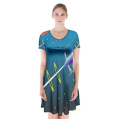 Rocket Spaceship Space Galaxy Short Sleeve V Neck Flare Dress by HermanTelo