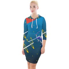 Rocket Spaceship Space Galaxy Quarter Sleeve Hood Bodycon Dress by HermanTelo