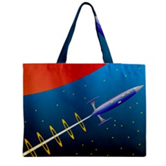 Rocket Spaceship Space Galaxy Zipper Medium Tote Bag