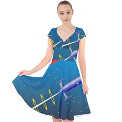 Rocket Spaceship Space Galaxy Cap Sleeve Front Wrap Midi Dress by HermanTelo