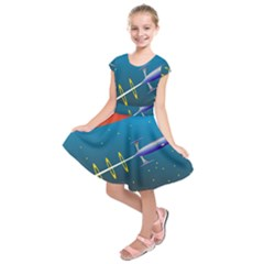 Rocket Spaceship Space Galaxy Kids  Short Sleeve Dress