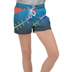 Rocket Spaceship Space Galaxy Women s Velour Lounge Shorts
