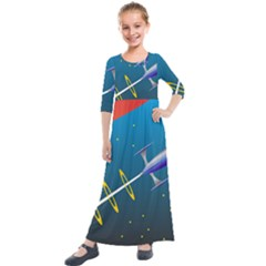 Rocket Spaceship Space Galaxy Kids  Quarter Sleeve Maxi Dress by HermanTelo