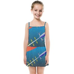Rocket Spaceship Space Galaxy Kids  Summer Sun Dress by HermanTelo