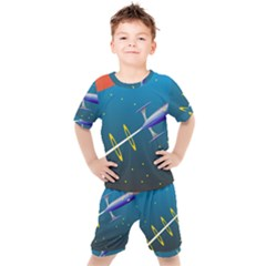 Rocket Spaceship Space Galaxy Kids  Tee And Shorts Set by HermanTelo