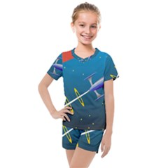 Rocket Spaceship Space Galaxy Kids  Mesh Tee And Shorts Set by HermanTelo