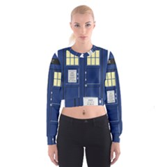 Tardis Doctor Who Time Travel Cropped Sweatshirt by HermanTelo