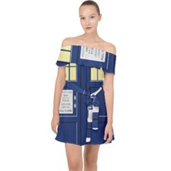 Tardis Doctor Who Time Travel Off Shoulder Chiffon Dress